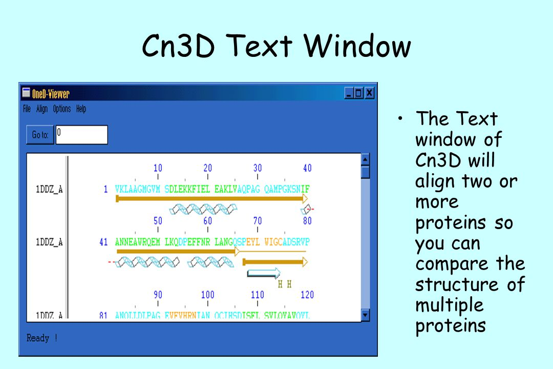 Cn3D Text Window The Text window of Cn3D will align two or more proteins so you can compare the structure of multiple proteins.