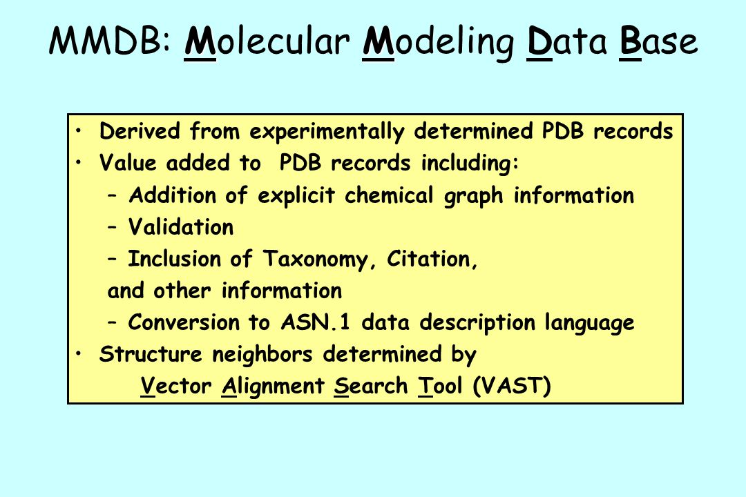 MMDB: Molecular Modeling Data Base