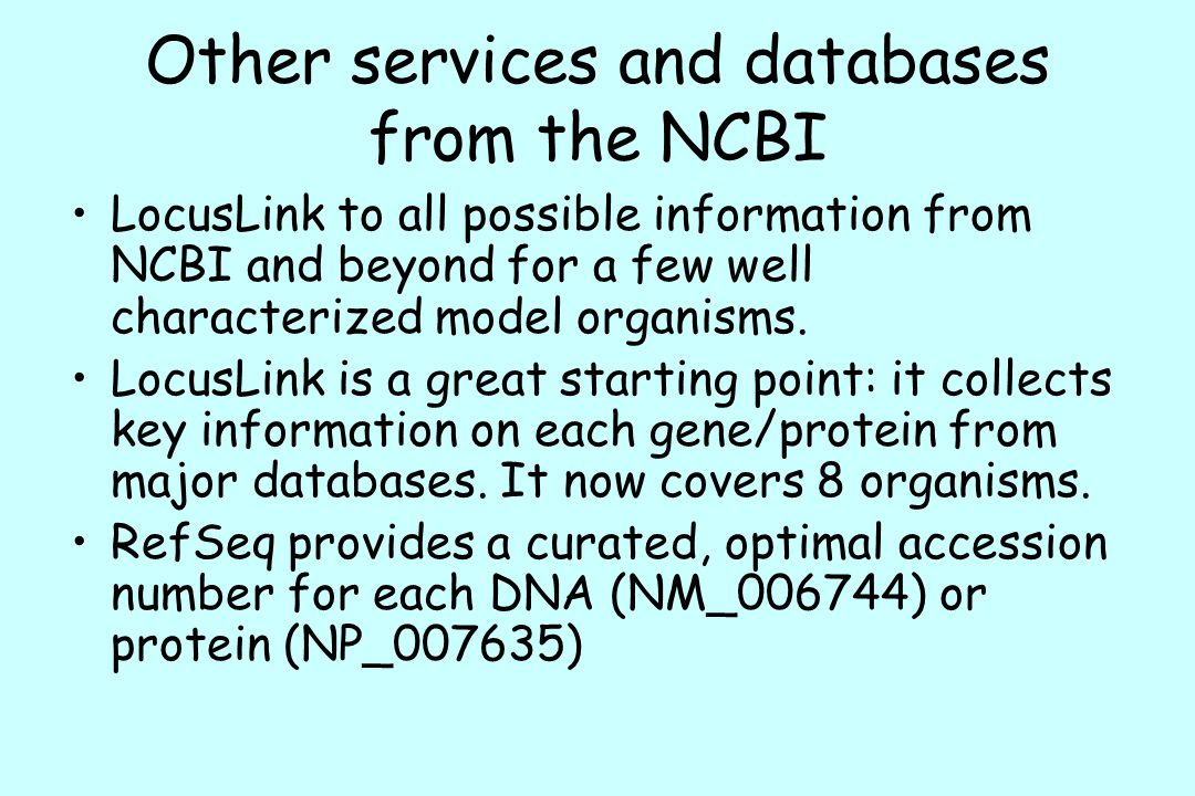 Other services and databases from the NCBI