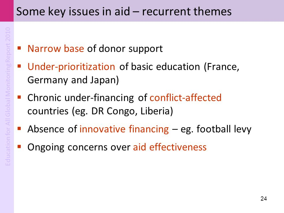 Some key issues in aid – recurrent themes