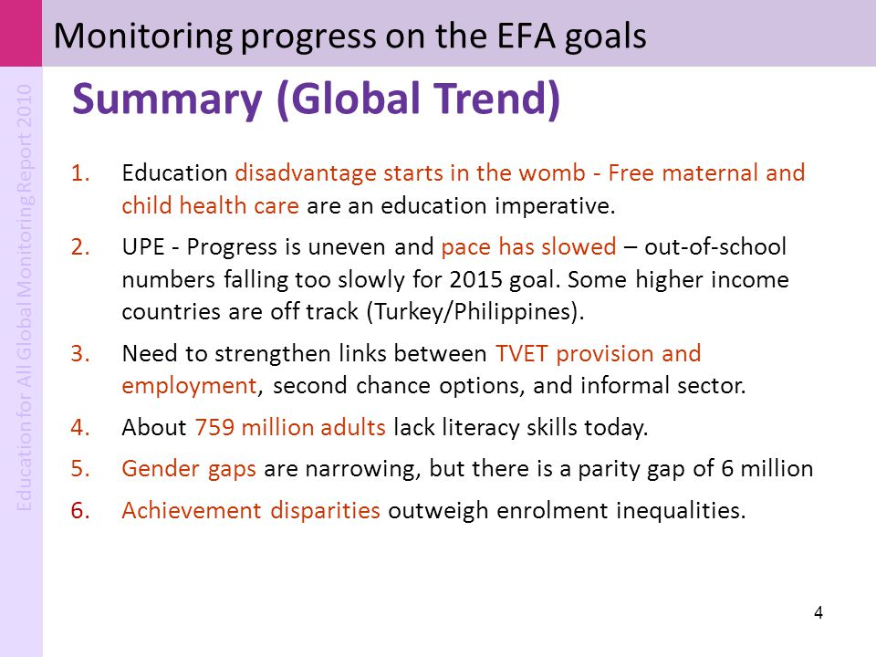 Monitoring progress on the EFA goals