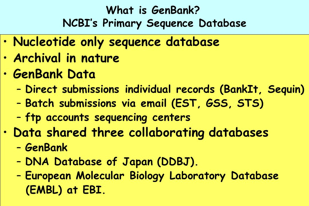 What is GenBank NCBI's Primary Sequence Database