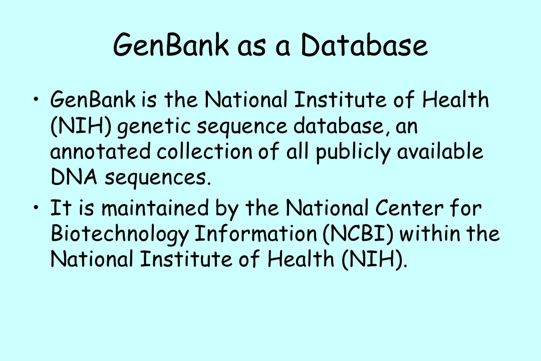 GenBank as a Database