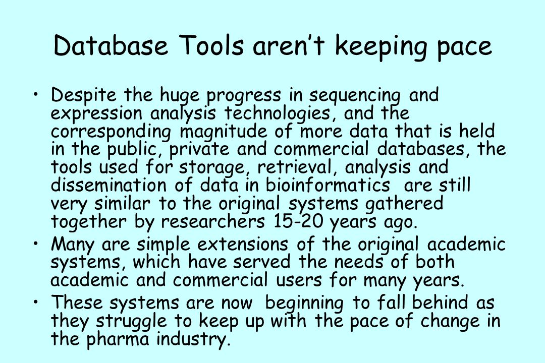 Database Tools aren't keeping pace