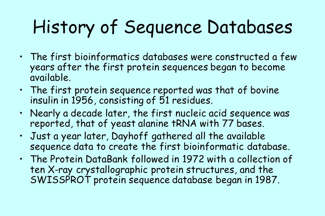 History of Sequence Databases