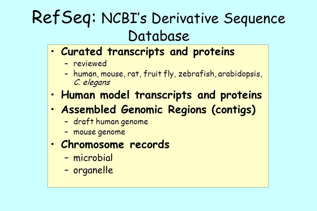 RefSeq: NCBI's Derivative Sequence Database