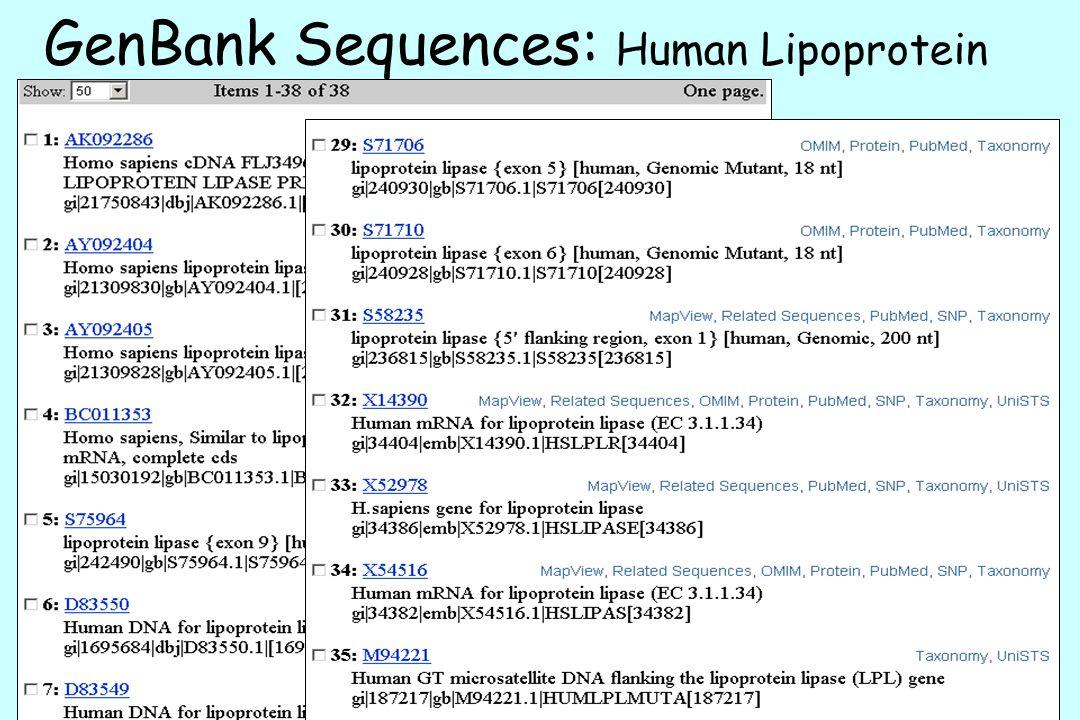 GenBank Sequences: Human Lipoprotein Lipase