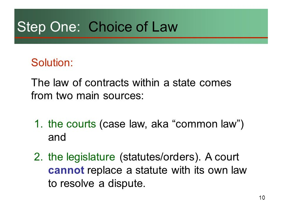 Step One: Choice of Law Solution: