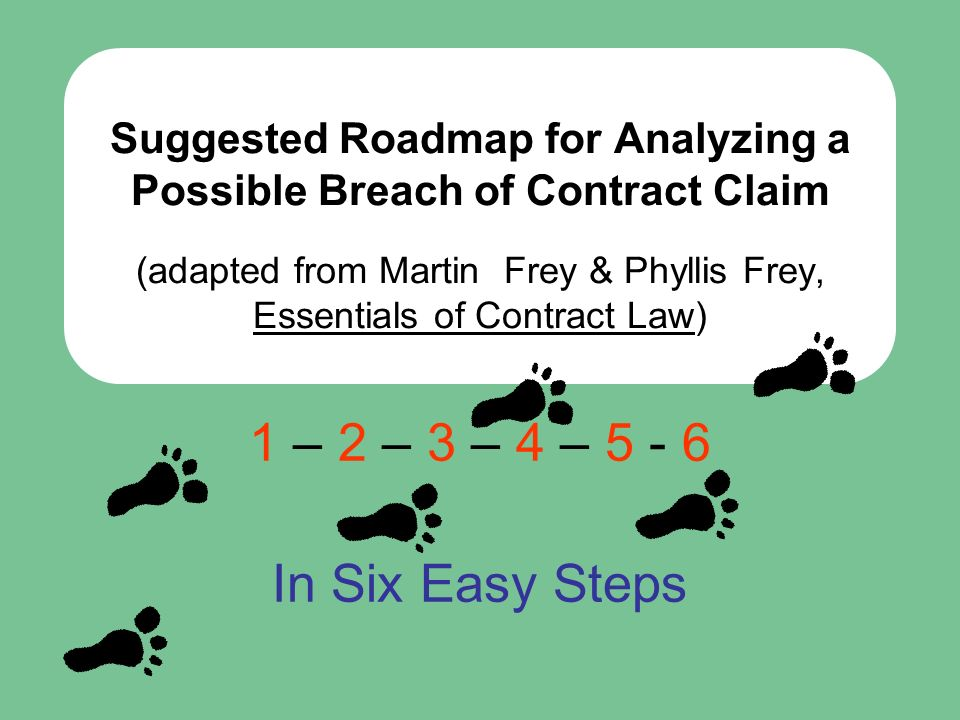 Suggested Roadmap for Analyzing a Possible Breach of Contract Claim (adapted from Martin Frey & Phyllis Frey, Essentials of Contract Law)