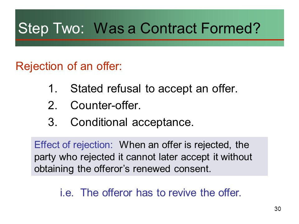 Step Two: Was a Contract Formed