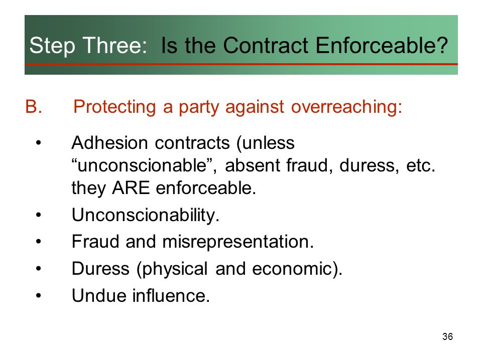 Step Three: Is the Contract Enforceable