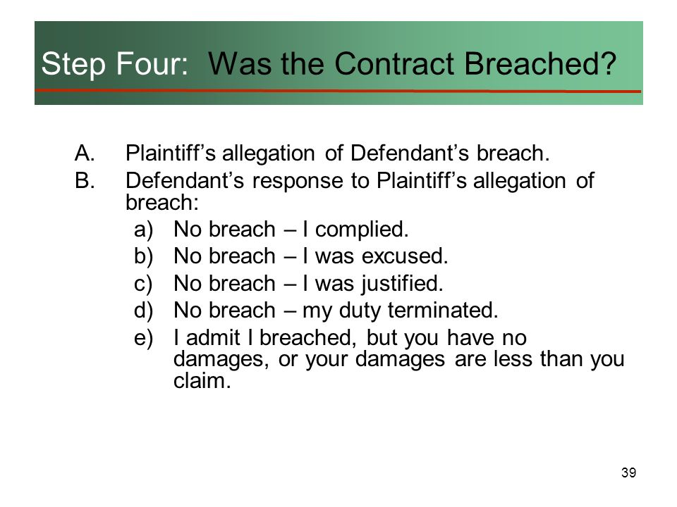 Step Four: Was the Contract Breached