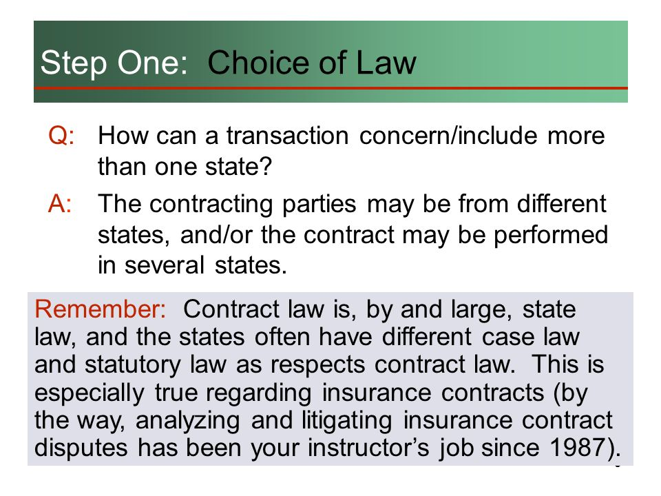 Step One: Choice of Law Q: How can a transaction concern/include more than one state