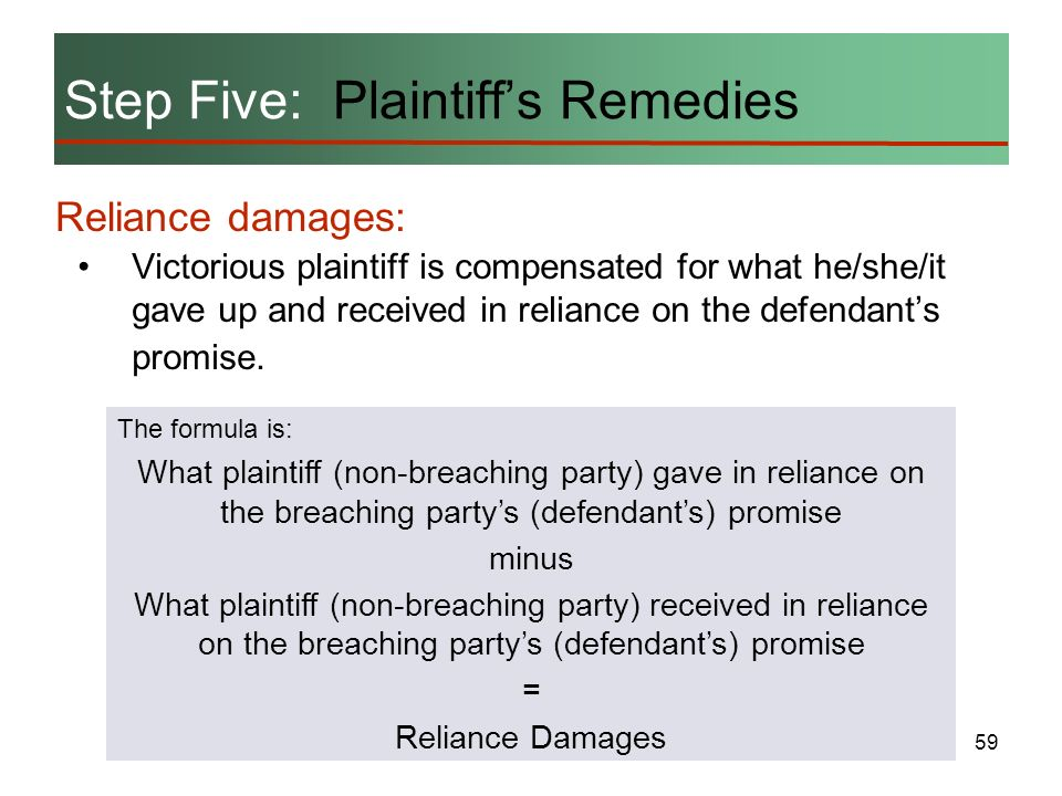 Step Five: Plaintiff's Remedies