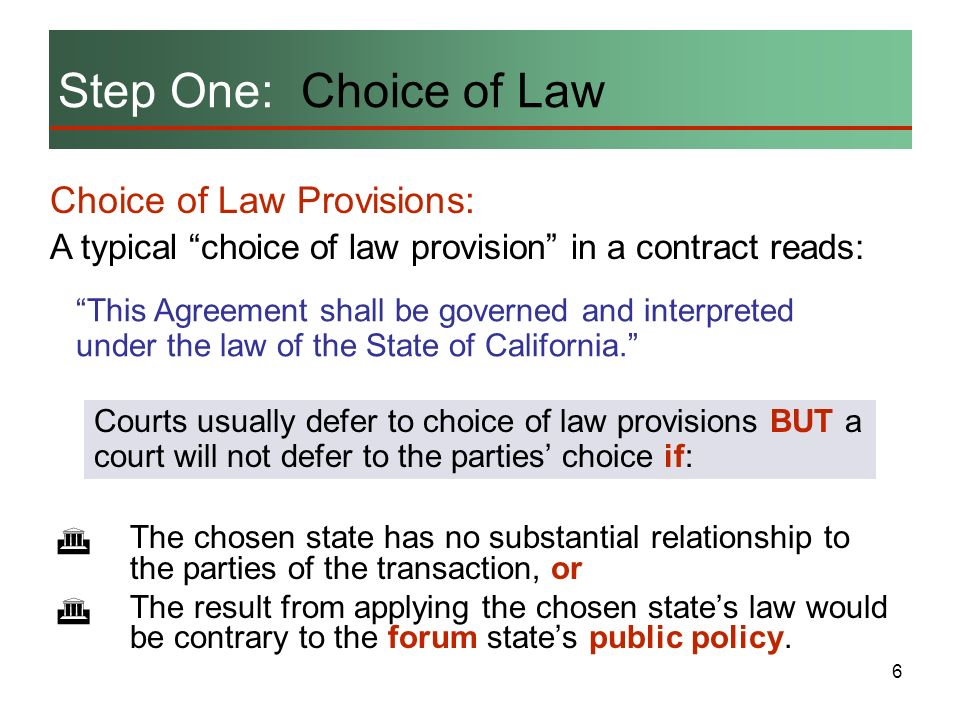 Step One: Choice of Law Choice of Law Provisions: