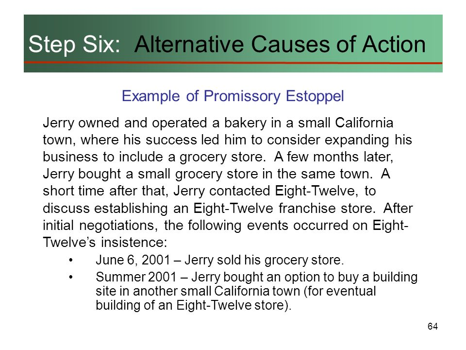 Step Six: Alternative Causes of Action