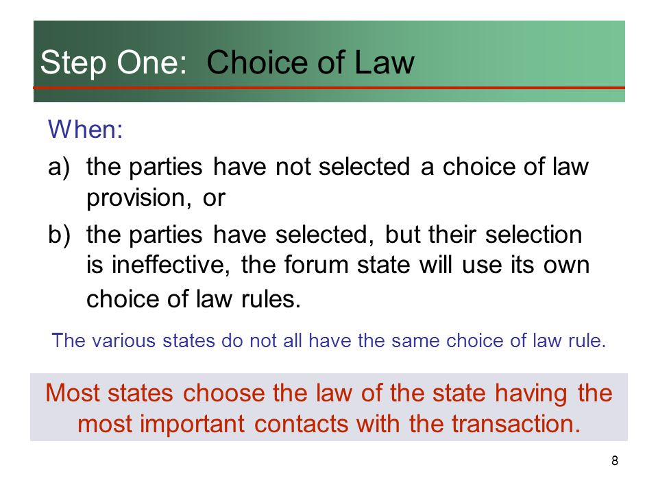 The various states do not all have the same choice of law rule.