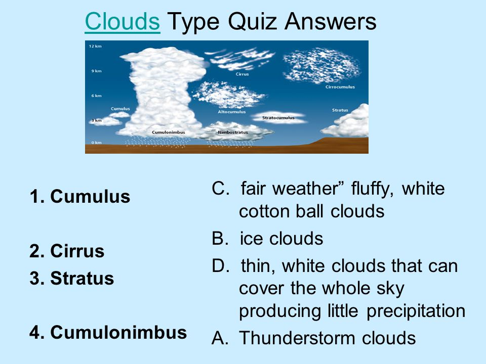 Clouds Type Quiz Answers