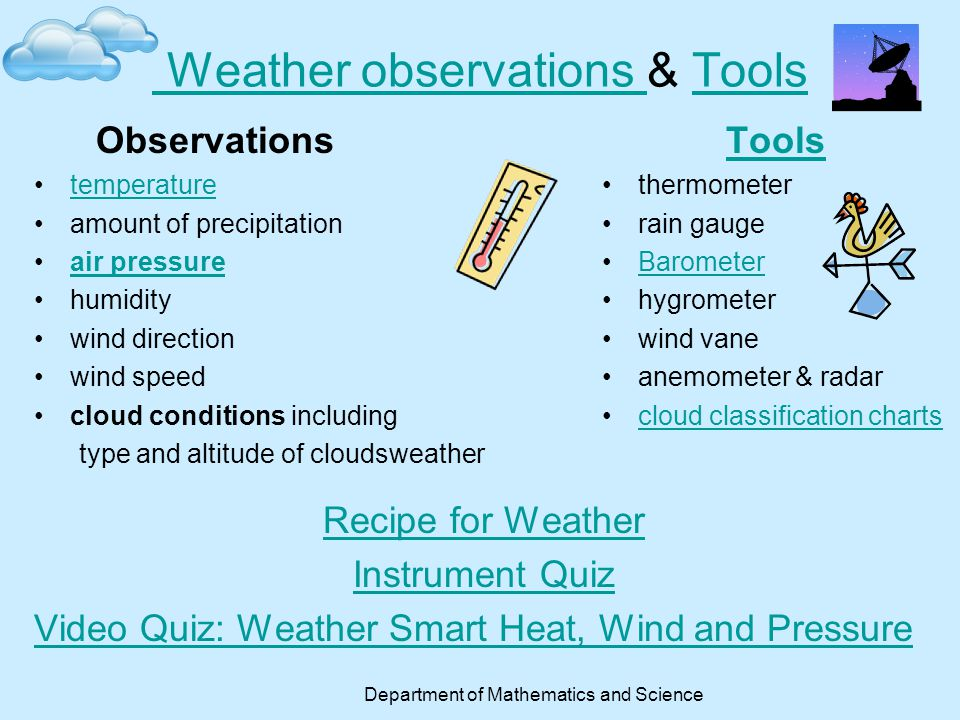 Weather observations & Tools
