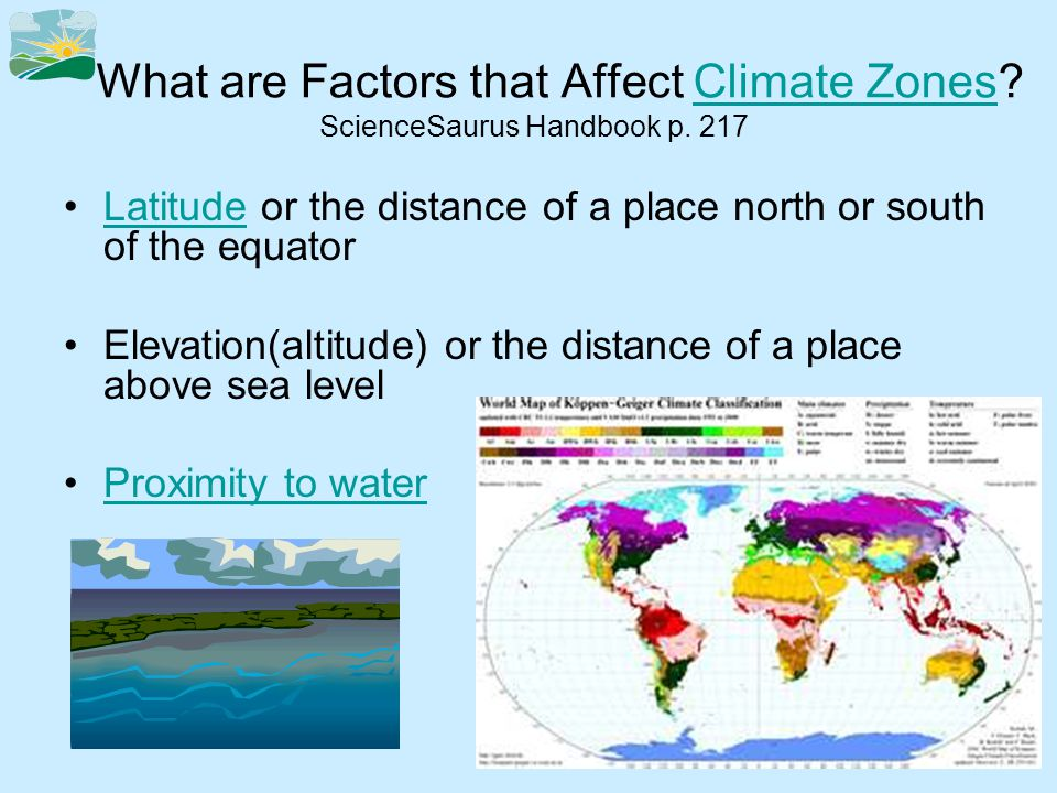 What are Factors that Affect Climate Zones. ScienceSaurus Handbook p