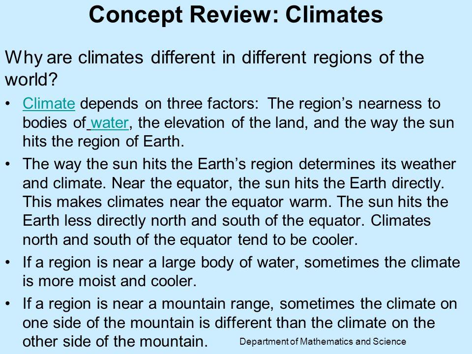 Concept Review: Climates