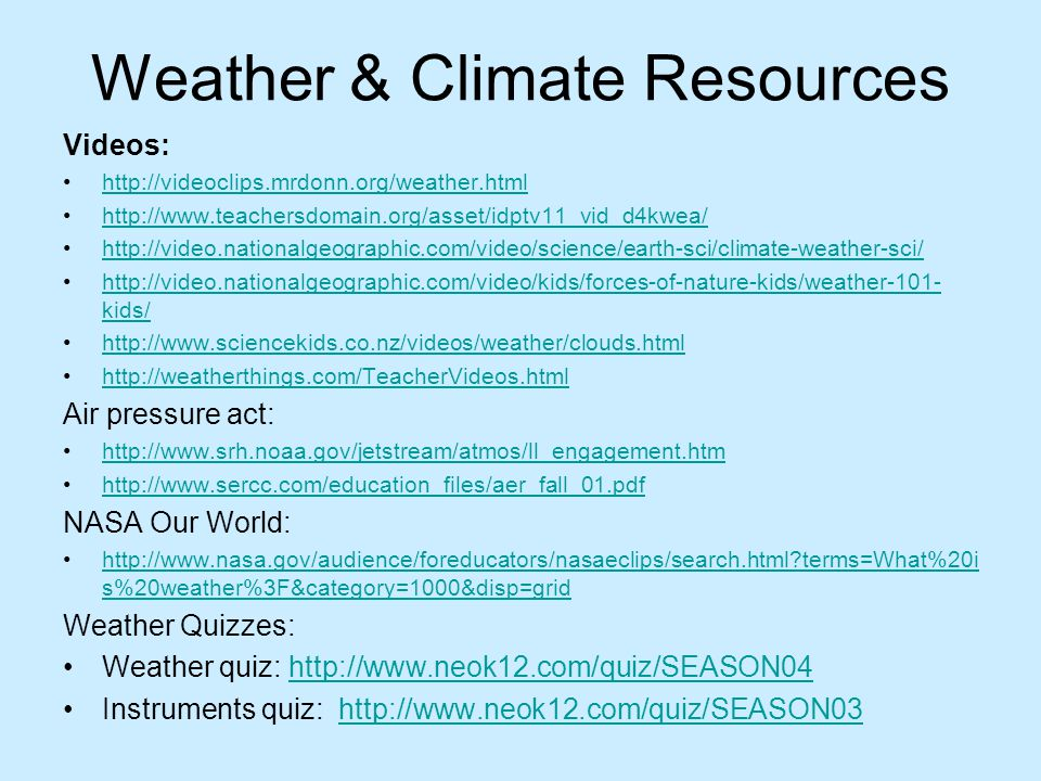 Weather & Climate Resources