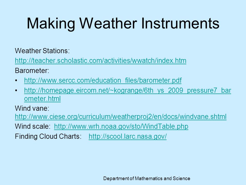 Making Weather Instruments