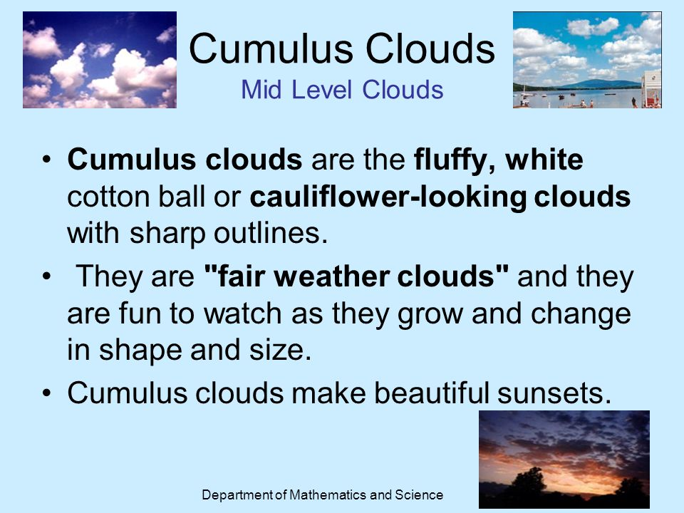Cumulus Clouds Mid Level Clouds