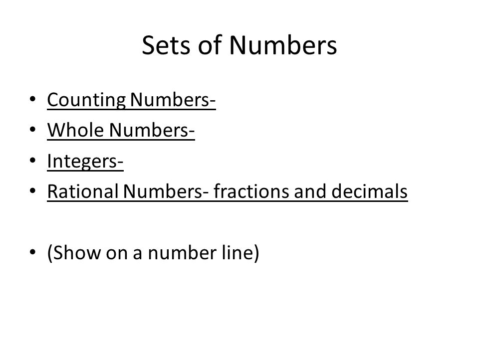 Sets of Numbers Counting Numbers- Whole Numbers- Integers-