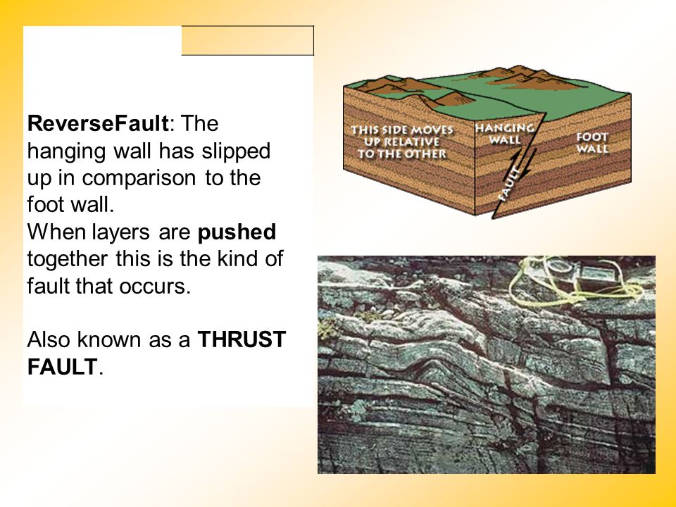 ReverseFault: The hanging wall has slipped up in comparison to the foot wall.