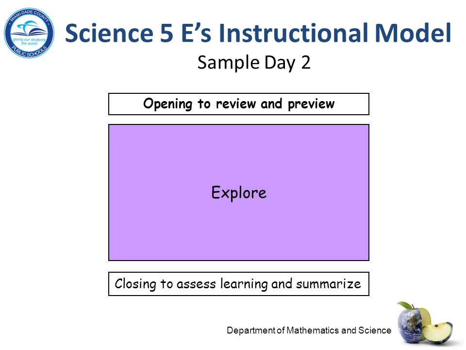 Science 5 E's Instructional Model Sample Day 2