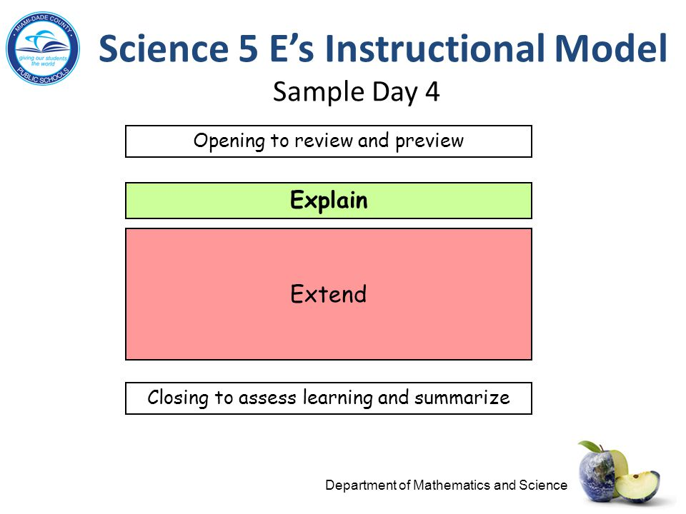 Science 5 E's Instructional Model Sample Day 4