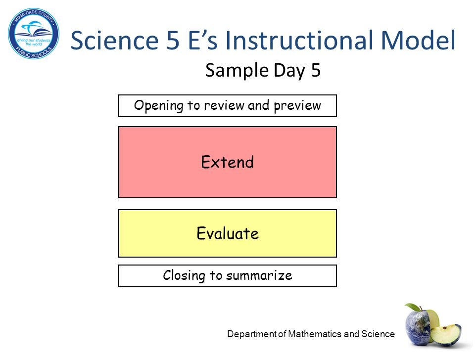 Science 5 E's Instructional Model Sample Day 5