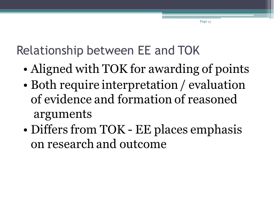 Relationship between EE and TOK