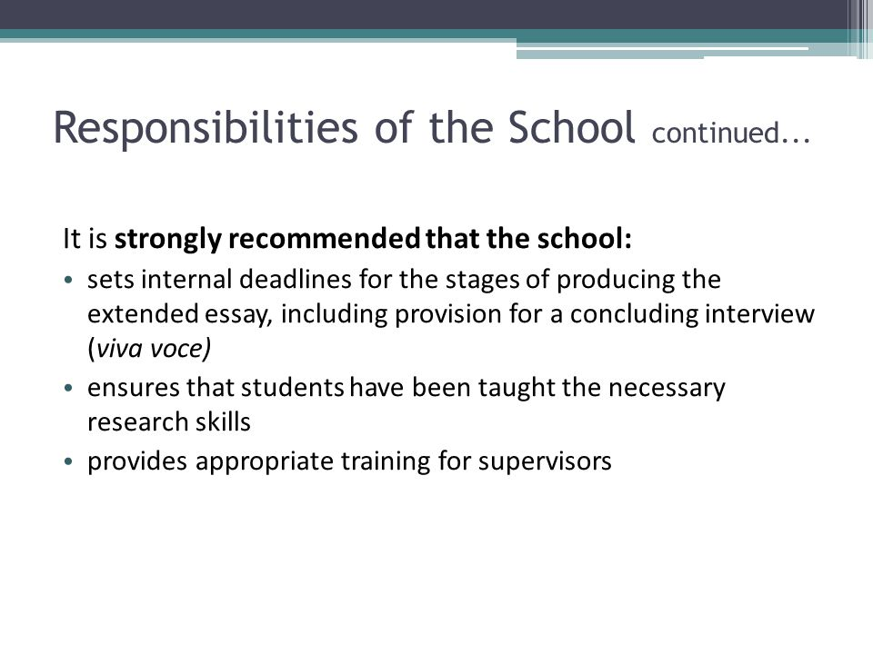 Responsibilities of the School continued...