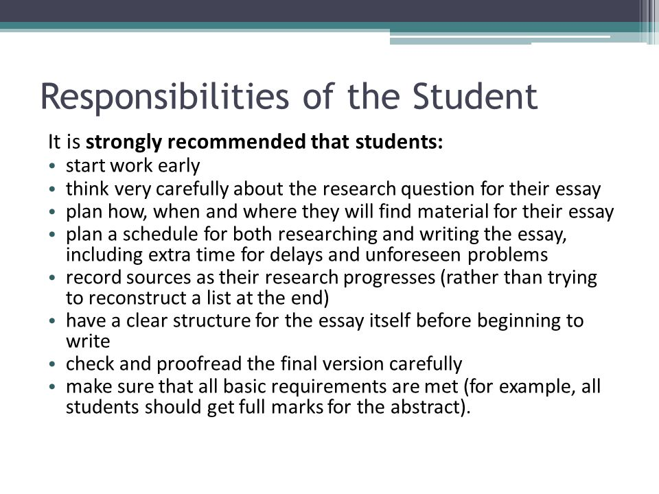 essay on responsibility of student If you are looking for an idea to write your college papers on personal responsibility and societal roles, here gives proofread essay sample on this topic personal responsibility and social roles tips and examples for college students.