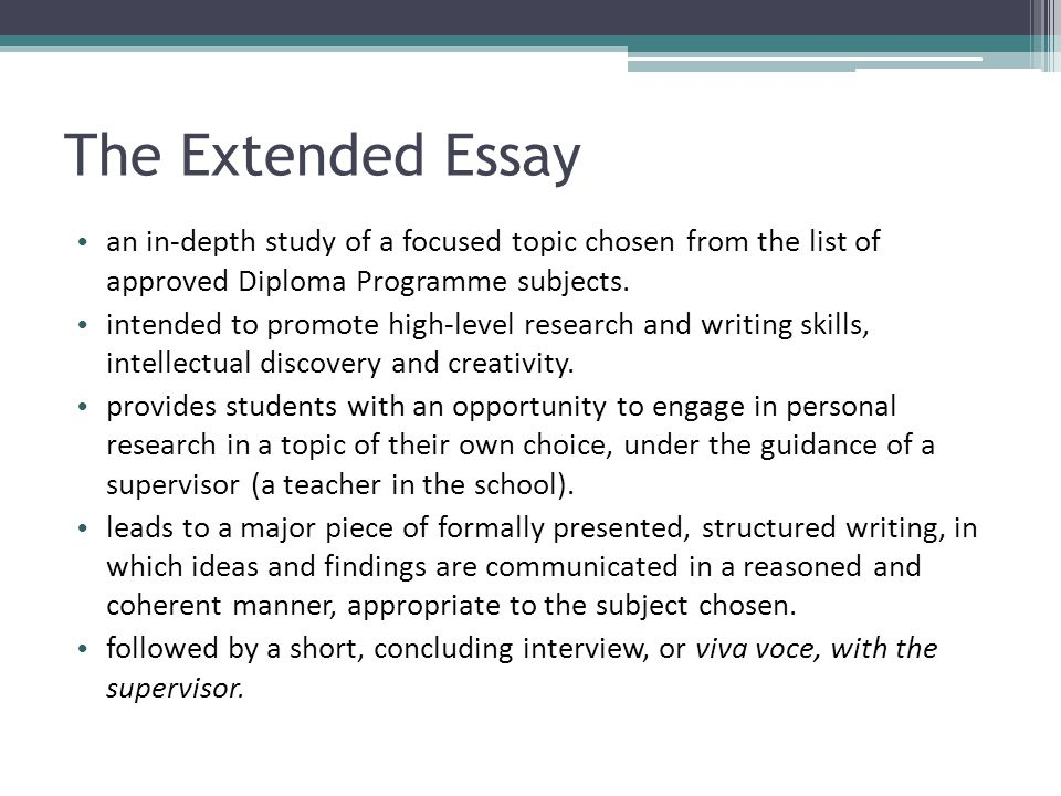 "the international baccalaureate program essay ""the essay is an intensive and extensive research piece on a topic of the student's choice,"" hendricks says  international baccalaureate programs are catching on in the united states."