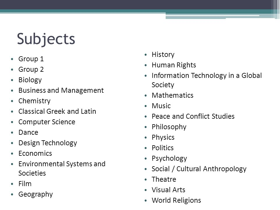 Subjects History Group 1 Human Rights Group 2