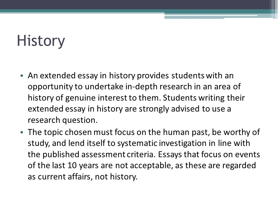 past history extended essays