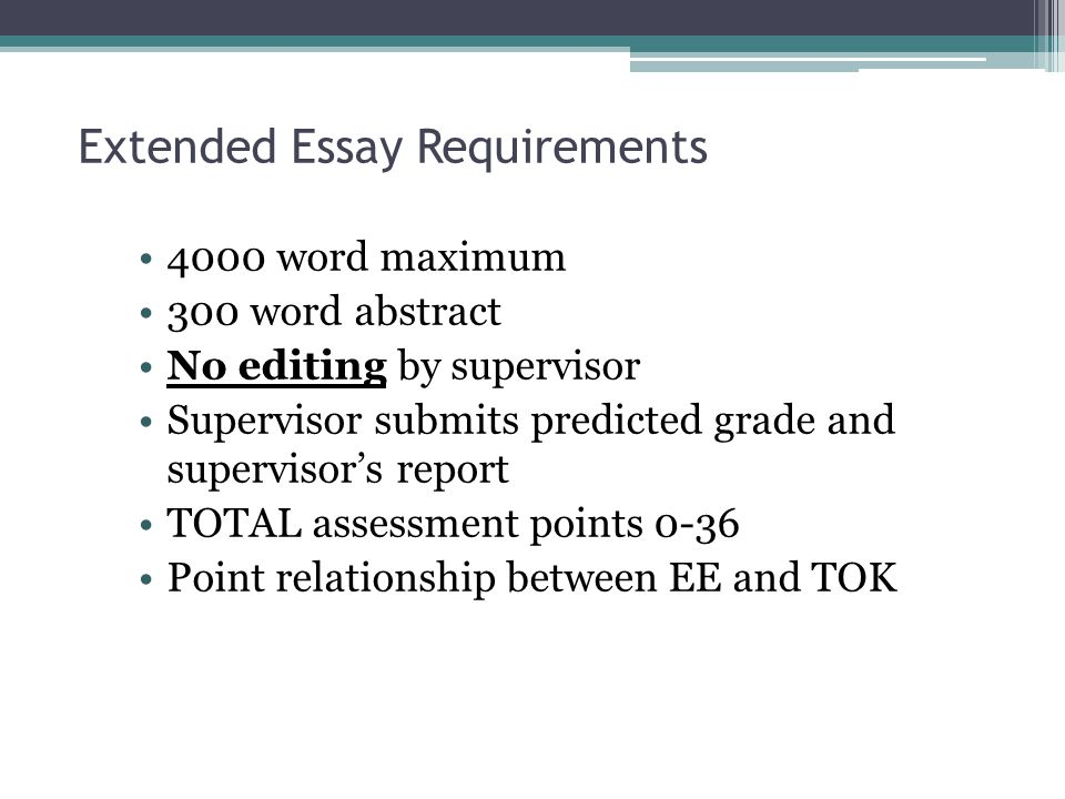 extended essay abstract requirements Ib extended essay abstract designed to allow readers to understand quickly the contents of the extended essay the minimum requirements for the abstract are for.