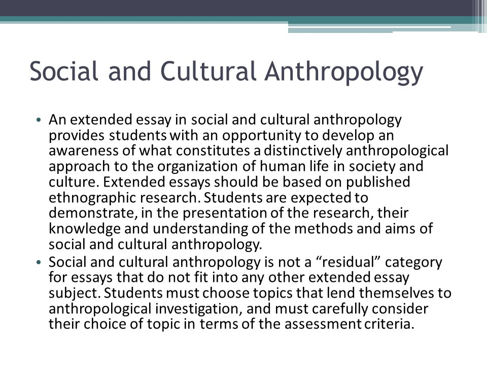 Anthropology term paper