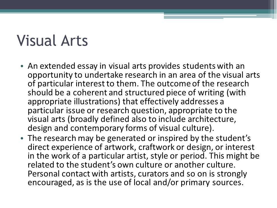 Ib extended essay topics visual art