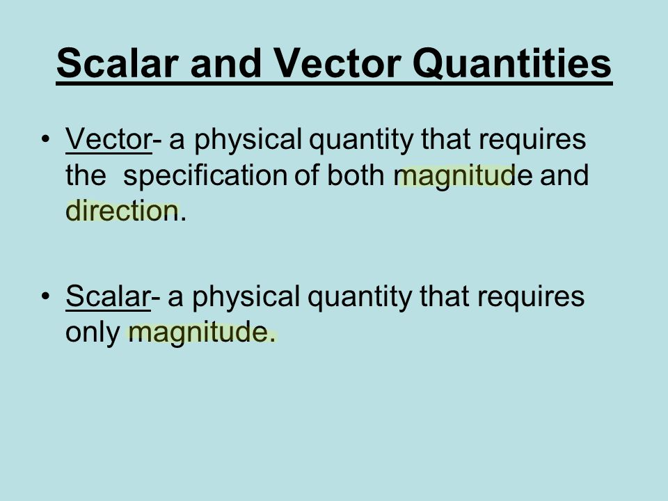 Scalar and Vector Quantities