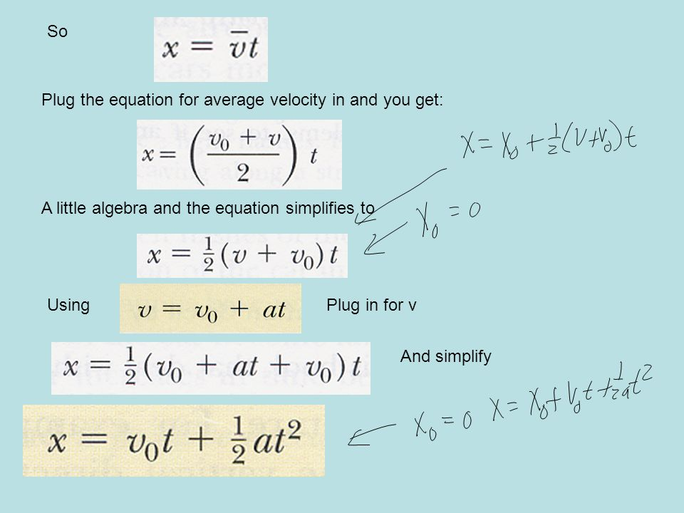 So Plug the equation for average velocity in and you get: A little algebra and the equation simplifies to.