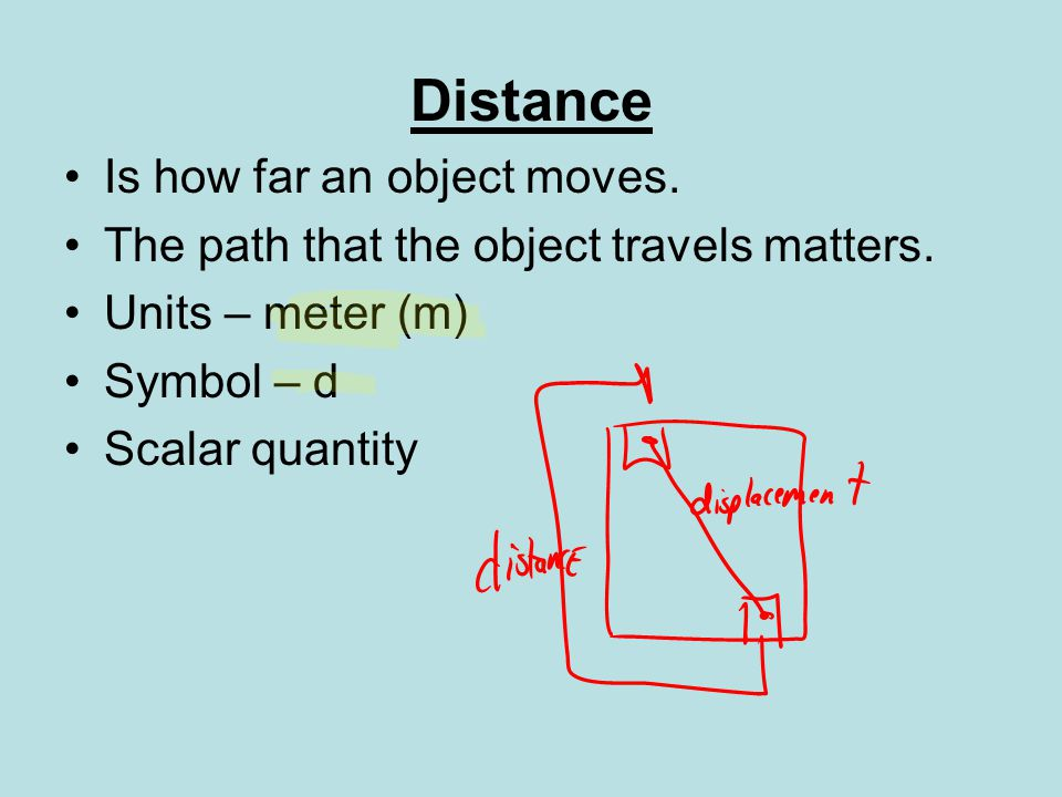 Distance Is how far an object moves.