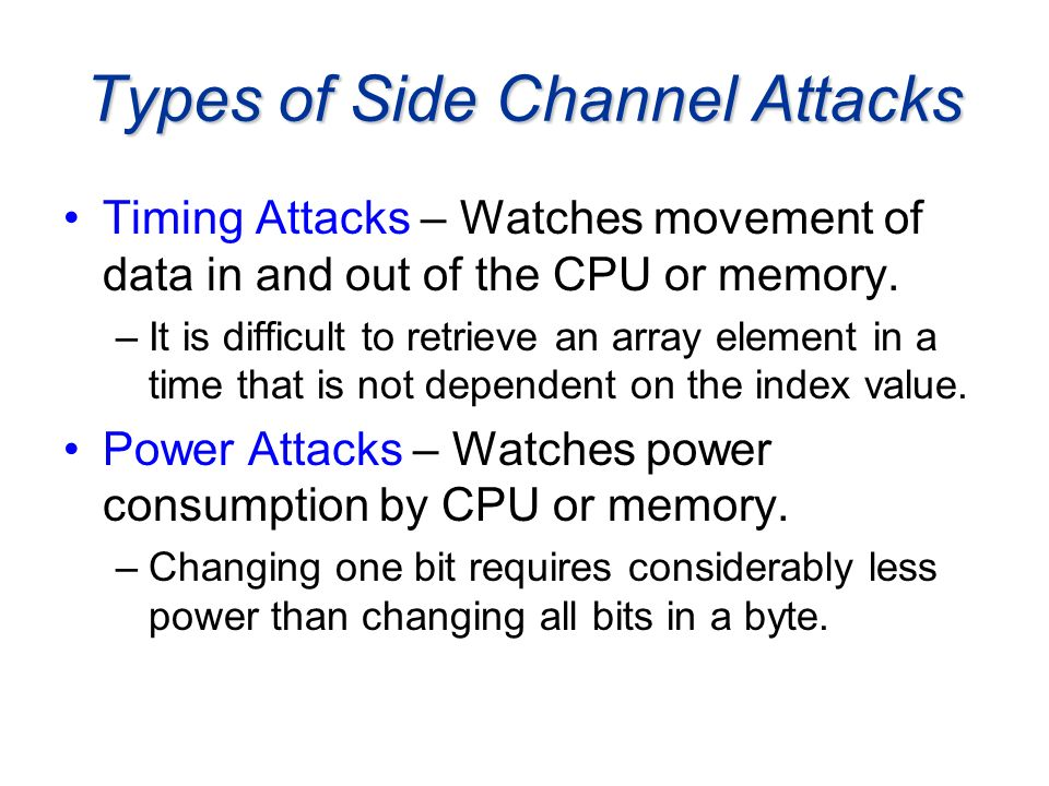 Types of Side Channel Attacks