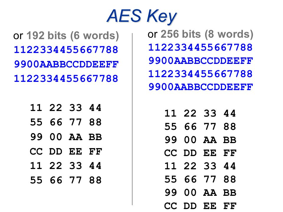 AES Key or 192 bits (6 words) 1122334455667788 9900AABBCCDDEEFF