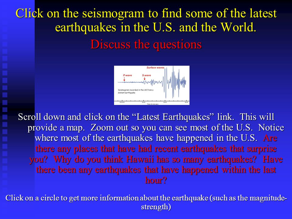 Click on the seismogram to find some of the latest earthquakes in the U.S. and the World.