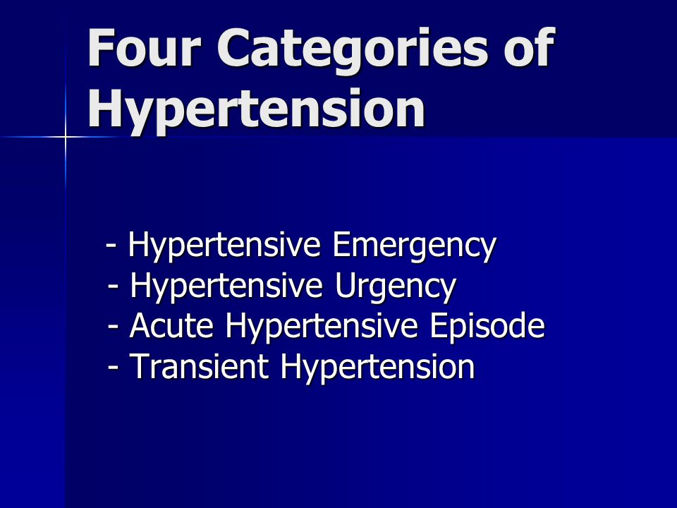 Four Categories of Hypertension