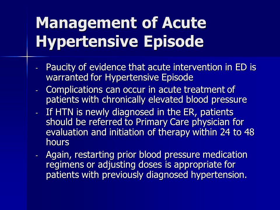 Management of Acute Hypertensive Episode